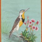 Eastern Meadowlark Bird Painting Handmade Indian Miniature Watercolor Nature Art
