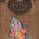 Vishnu Matsya Art Handmade Hindu God Fish Incarnation Avatar Watercolor Painting