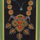 Rajasthani Jewelry Painting Handmade Decorated Embossed Indian Ornament Folk Art