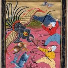 Persian Dragon Art Indian Illuminated Manuscript Handmade Miniature Painting