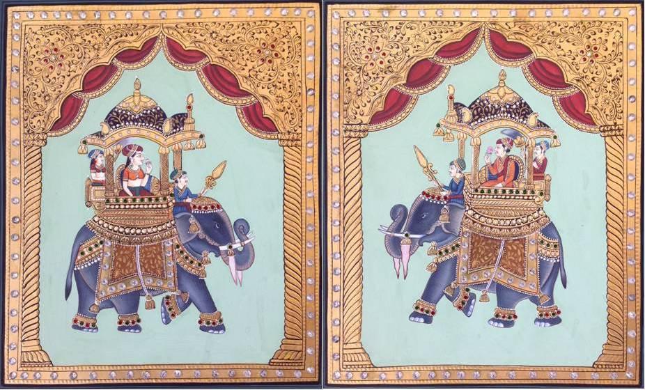 Mughal Miniature Tanjore Art Handmade Ambabari Elephant Thanjavur Folk Painting