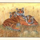 Bengal Indian Tigers Painting Handmade Wildlife Animal Nature Miniature Artwork