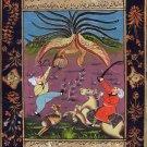 Persian Indian Miniature Art Handmade Rare Shah Dragon Hunt Mughal Folk Painting
