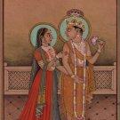 Krishna Radha Art Handmade India Hindu Ethnic Religion Miniature Kangra Painting