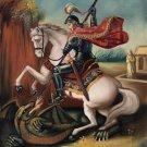 St George Peruvian Cuzco Art Handmade Canvas Oil San Jorge Dragon Peru Painting