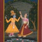Krishna Radha Pahari Painting Handmade Hindu Folk Religious Indian Ethnic Art