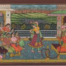 Mughal Indian Painting Handmade Moghul Miniature Romantic Garden Watercolor Art