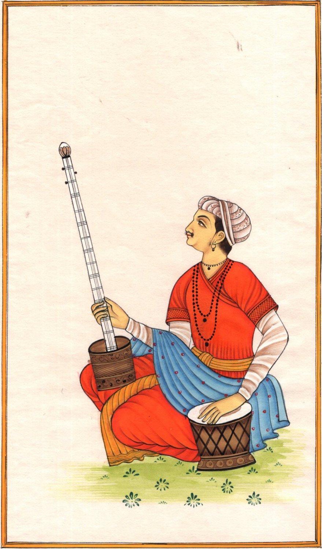Indian Rajasthani Tanpura Tabla Musician Miniature Painting Handmade Ethnic Art