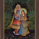 Krishna Radha Hindu Painting Indian Deity Hand Painted Home Decor Religious Art