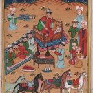 Persian Ottoman Turkish Style Miniature Painting Handmade Watercolor Paper Art