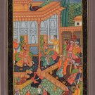 Mughal Empire Miniature Painting Handmade Moghul Indian Emperor Court Darbar Art