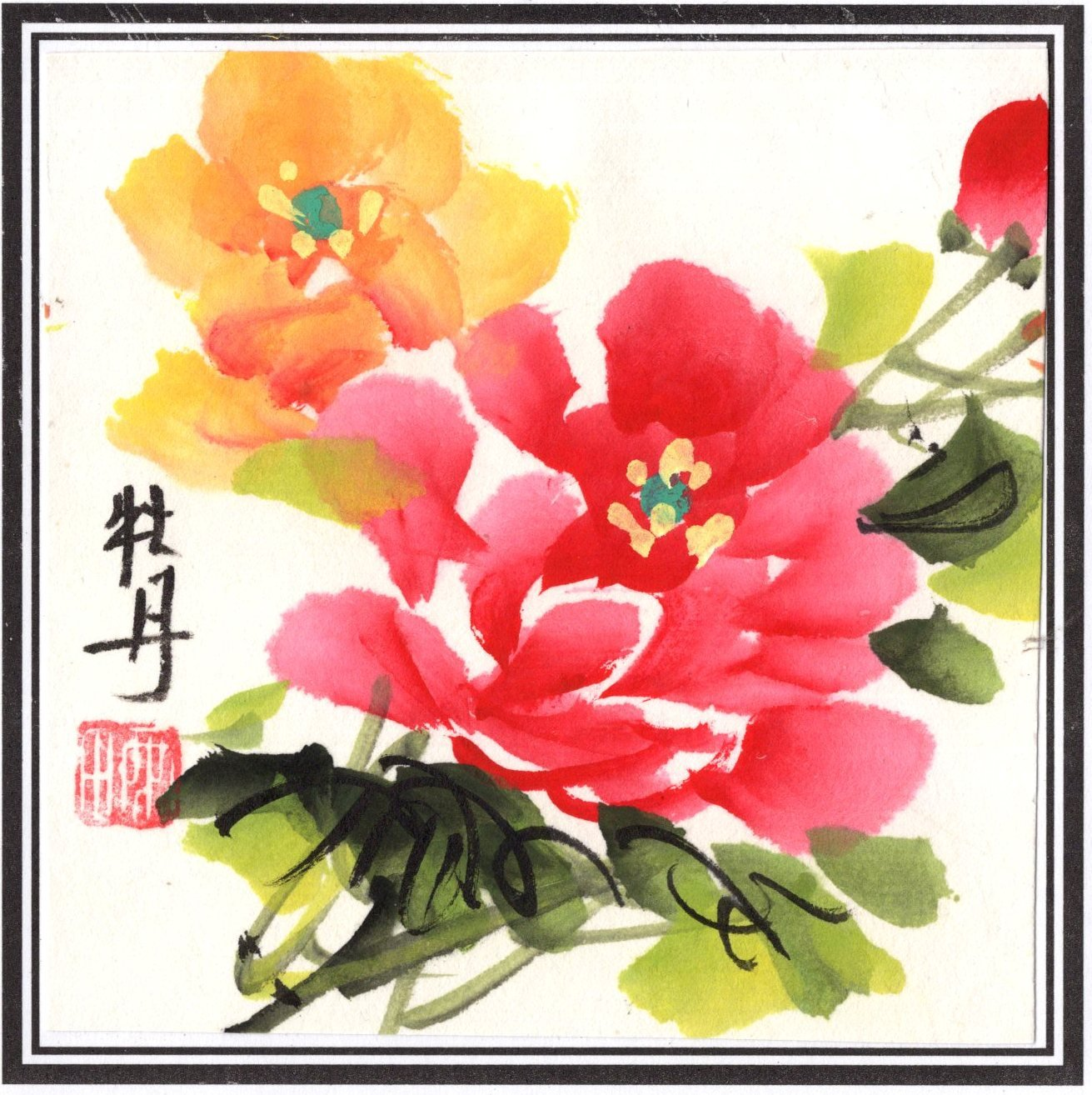 Chinese Miniature Floral Brush Painting Handmade Watercolor Ethnic Flower Art