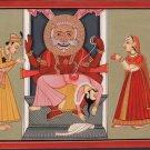 Kangra School Art Handmade Indian Miniature Narasimha Hiranyakashipu Painting