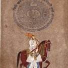Rajasthani Maharajah Miniature Portrait Painting Handmade Indian Equestrian Art