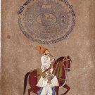 Rajasthani Maharajah Miniature Portrait Painting Handmade Indian Equestrian Art