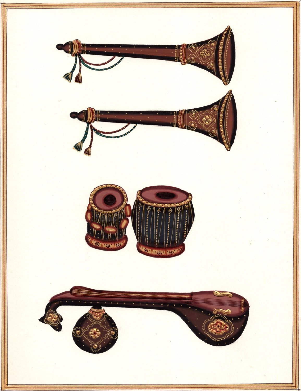 Rajasthani Musical Instrument Painting Handmade Indian Miniature Folk Melody Art