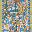 Kalamkari Floral Bird Painting Handmade Indian Ethnic Cotton Fabric Design Art