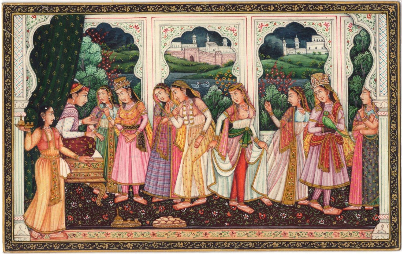 Mughal Miniature Painting Moghul Empire India Handmade Ethnic Romance Love Art