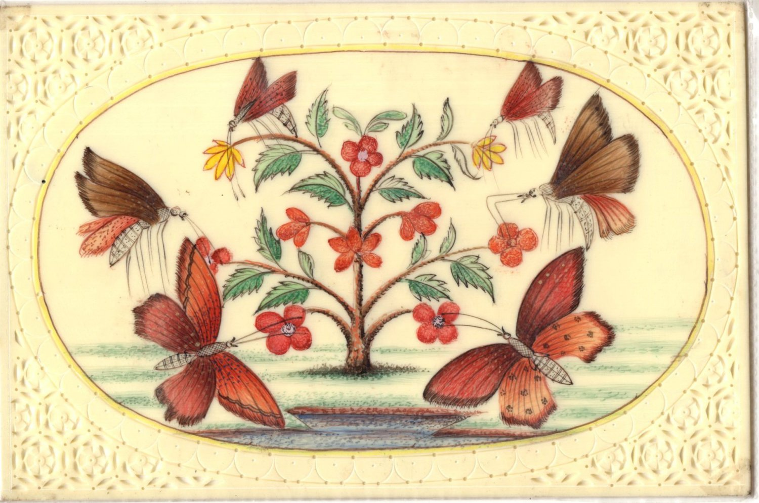Mughal Butterfly Floral Miniature Painting Handmade Indian Ethnic Nature Art