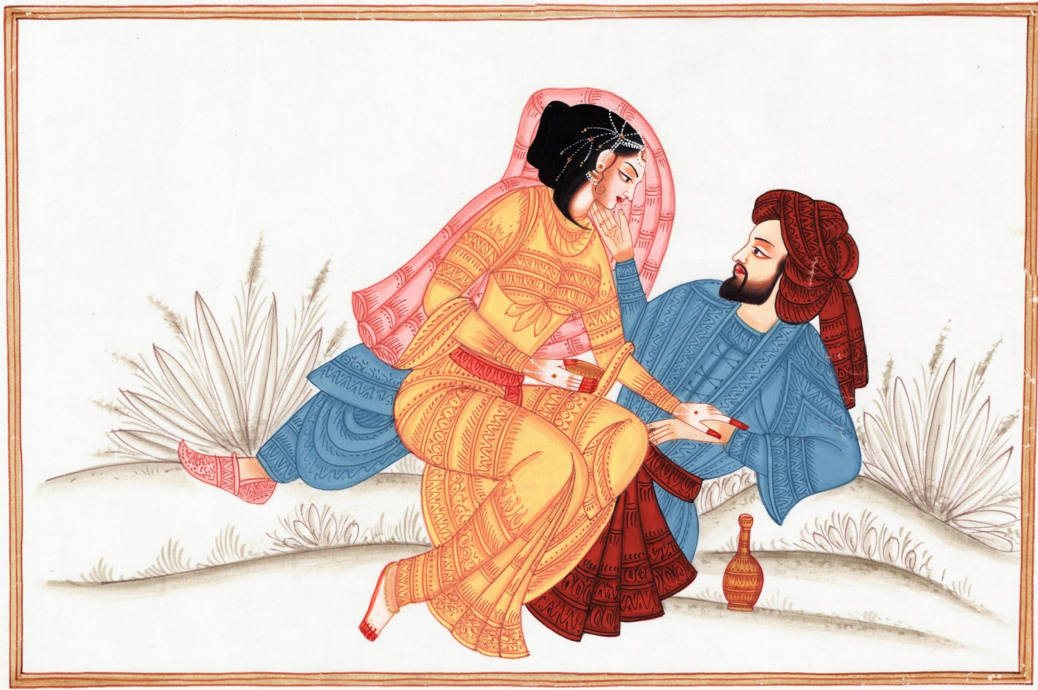 Indian Rajasthani Miniature Painting Handmade Maharajah Maharani Love Ethnic Art