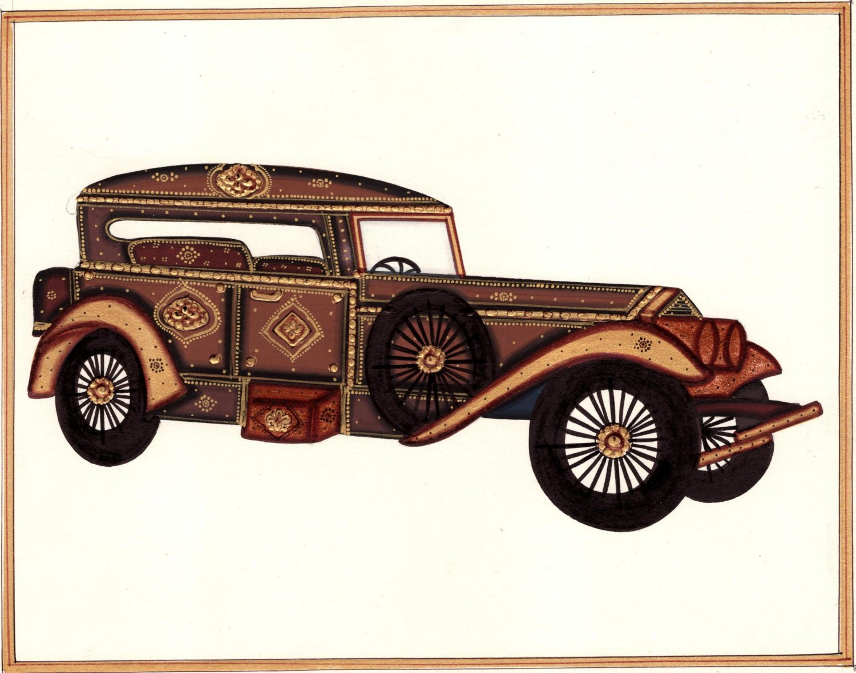 Rajasthani Miniature Automobile Art Handmade Indian Antique Car Decor Painting