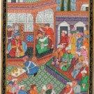 Mughal Empire Handmade Painting Moghul Miniature Emperor Babur Baburnama Art