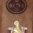 Sikh Painting Guru Nanak Rare Handmade Indian Miniature Watercolor Sikhism Art