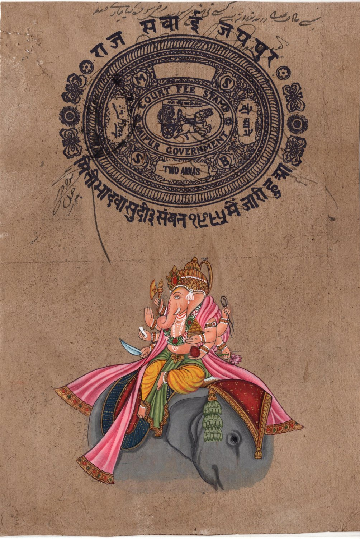 Ganesha Elephant Art Handmade Indian Miniature Ethnic Ganesh Hindu Folk Painting