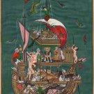 Noah's Ark Mughal Miniature Painting Handmade Miskin Akbar Moghul Ethnic Art