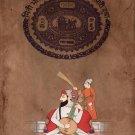 Sikh Guru Handmade Art Indian Miniature Stamp Paper Punjabi Musician Painting