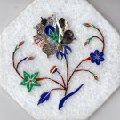 Indian Parchin Kari Marble Inlay Art Handmade 4″ Floral Mosaic Home Decor Art
