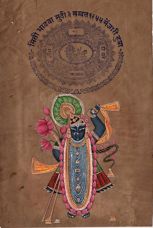 Shrinathji Krishna Hindu Painting Handmade Indian Miniature Stamp Paper Folk Art