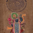 Shrinathji Krishna Hindu Painting Handmade Indian Miniature Stamp Paper Folk Art