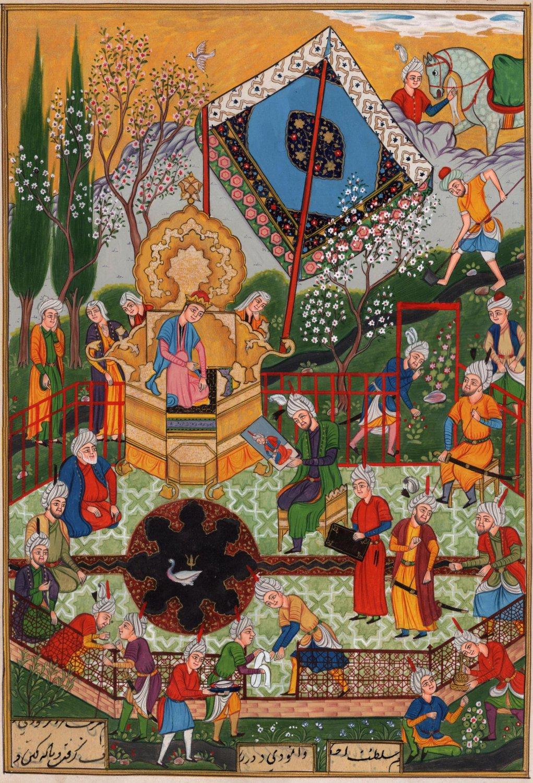 Indian Persian Miniature Painting Handmade Mirza Ali Khamsa of Nizami Ethnic Art