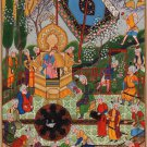 Indian Persian Miniature Painting Handmade Mirza Ali Khamsa of Nizami Ethnic Art