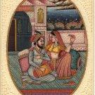 Mughal Harem Miniature Painting Handmade Rare Moghul Indian Romance Decor Art