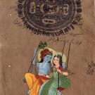 Krishna Radha Indian Art Ethnic Hindu Handmade Spiritual Decor Folk Painting