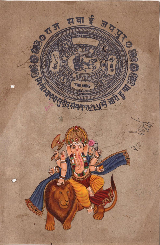 Ganesha Lion Art Handmade Indian Miniature Ethnic Ganapathi Hindu Folk Painting