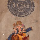Ganesha Lion Art Handmade Indian Miniature Ethnic Ganapathi Hindu Folk Painting