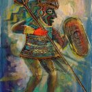 Peruvian Cuzco Inca Warrior Art Handmade Oil on Canvas Peru Ethnic Folk Painting