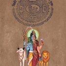Ardhanarishvara Hindu Art Handmade Indian Shiva Parvati Deity Goddess Painting