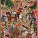 Mughal Miniature Painting Handmade Akbarnama Indian Moghul Empire Ethnic Art