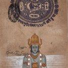 Dhanvantari Hindu Art Handmade Indian Miniature Medicine God Watercolor Painting