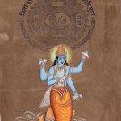 Matsya Art Handmade Vishnu Avatar Hindu God Fish Incarnation Watercolor Painting