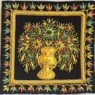 Indian Velvet Embroidery Handicraft Handmade Jaipur Floral Vase Decor Ethnic Art