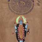 Kali Shiva Art Handmade Indian Hindu Goddess Miniature Ethnic Religion Painting