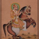 Indian Miniature Painting Handmade Rajasthani Maharaja Equestrian Portrait Art