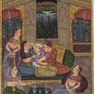 Mughal Ethnic Miniature Painting Handmade Indo Islamic Script Paper Moghul Art