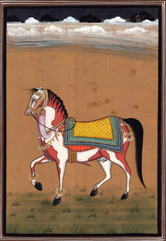 Indian Marwari Horse Art Handmade Stallion Watercolor Decor Miniature Painting