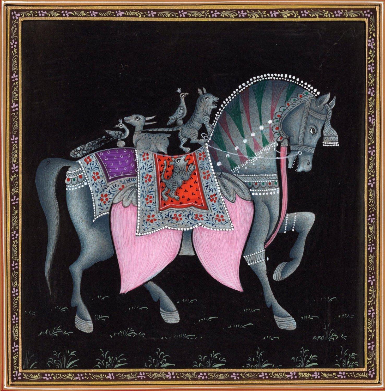 Indian Horse Painting Handmade Rajasthani Animal Lotus Petal Miniature Decor Art